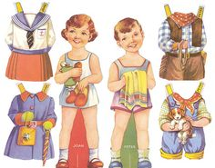 I loved boy & girl paper dolls! They looked so cute in their matching outfits!