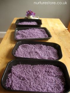 Lavender-dyed and scented rice for calming sensory play.