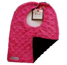 Hot Pink & Black Bib-meg, meg original, baby, girl, bib, feeding, drool bib, minky, minkee, new, soft, newborn, layette, mod, modern, trendy, dimple, dots, adjustable, reversible, baby shower, gift, baby boutique, san diego, california
