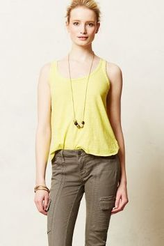 Yellow tank, green khaki pants, long necklace // Pure + Good Slub Scoop Tank #anthrofave #anthropologie