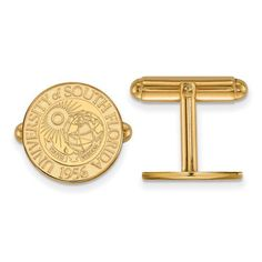 Gold-plated Silver University of South Florida Crest Cufflinks, Manufacturer Part Number: GP022USFL at HomeBello.