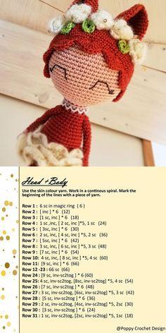 Doll Amigurumi Free Pattern, Doll Patterns Free, Crochet Doll Pattern, Crochet Patterns Amigurumi, Amigurumi Doll, Crochet Dolls, Crochet Penguin, Crochet Lion, Stuffed Animal Patterns