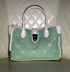 Dooney & Bourke Signature Canvas Mint Green and White Leather Double Handle Tote GVC+. Starting at $1