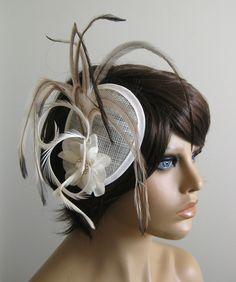 UNIKAT Vintage Haarschmuck ivory braun Blume Strass Federn Hochzeit Fascinator in Kleidung & Accessoires, Damen-Accessoires, Kopfschmuck & Fascinators | eBay