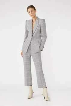 The Duvall Jacket in Snowden Check by CAMILLA AND MARC Wide Leg Pants, Black Pants, Black Blazers, Online Boutiques, Camilla, Black Tops, Tweed, Work Wear, Classic Style
