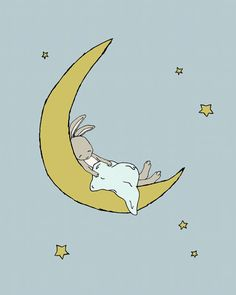 Bunny Nursery Art Bunny Dreams on the Moon This sweet little bunny is snuggled up with his blanket, dreaming on the moon. *Be sure to