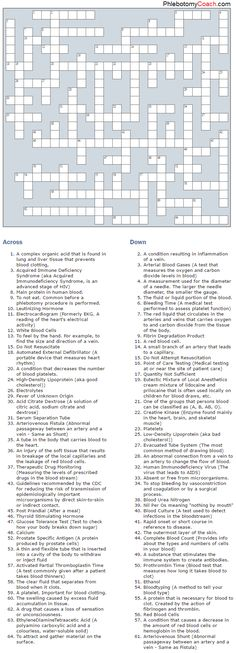 Test your knowledge with our phlebotomy related crossword puzzle! Click through for our interactive web-based crossword puzzle! #phlebotomy