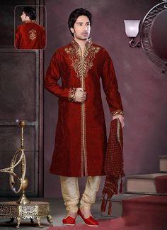 Maroon Aari Embroidered Kurta Pyjama