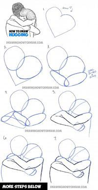 How to Draw Two People Hugging : Drawing Hugs Step by Step Drawing Tutorial - How to Draw Step by Step Drawing Tutorials