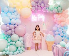 LET'S PARTY BALLOON + ICE CREAM BACKDROP from a Here's the Scoop Pastel Ice Cream Party on Kara's Party Ideas | KarasPartyIdeas.com (16)
