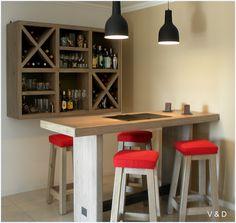 #bar #winery #bodega #modern #stool #red #wood #white #interiors #deco #homedecor #house