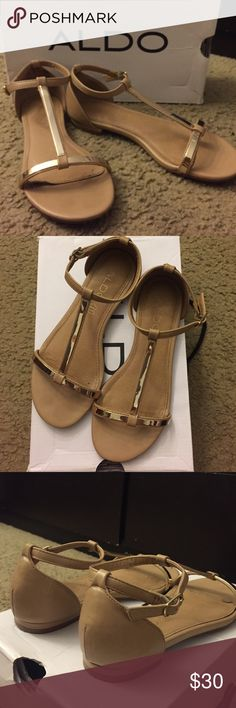 c45fe22543c Blush  amp  Gold Aldo Sandals Blush color with gold accents    buckle to  close