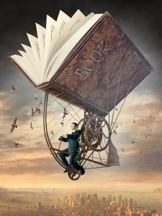 transported by a book © Igor MORSKI (Artist, Poland). Surreal Steampunk, Art. Man, Flight, Machine, Gears. Artist website: http://www.morski.pl/
