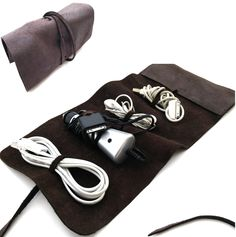 Leather Cord Wrap with Pocket, Leather Cable Organizer, Cord Roll, Cord Organizer by Sandalimshop on Etsy