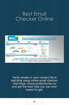 Verify emails in your contact list in real-time using online email checker. Visit https://www.emailchecker.io/ and get the best help you can ever expect to get.