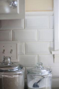 "Bevel tile Backsplash quarter round border, white tile 1/8"" grout lines"