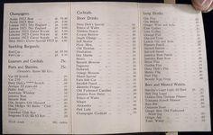 Prohibition-era-speakeasy menu, c.1926, Chicago. Despite seeming so cheap, these prices were inflated due to supply. via Calumet412.tumblr.com