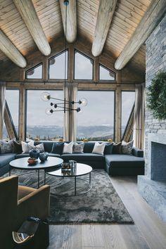 Modern Cabin Interior, Cabin Interior Design, Chalet Interior, Chalet Design, House Design, Modern Cabin Decor, Cabin Interiors, Modern Restaurant, Hotels