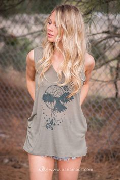 Sale- Dreaming Dreamcatcher Graphic Printed Tank Top (Olive)