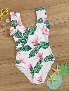 Girls Random Tropical Print One Piece Swimsuit Swimsuits For Tweens, Bathing Suits For Teens, Bathing Suits One Piece, Cute Bathing Suits, Cute Swimsuits, One Piece Swimsuit, Cute Comfy Outfits, Cute Summer Outfits, Pretty Outfits