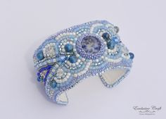 """Bead embroidered cuff bracelet """"Frosted"""""""