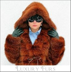 dyed brown fox fur parka