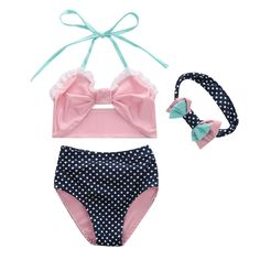 Bowknot Polka Dots Swimming Two Pieces Set With Headband Age: 1-5 Years Old Season: Summer Material: Nylon  #swimwear #kids summer #kids swimwear #kids swimwear girls bikini swimsuit