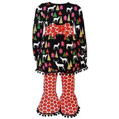 90ab24240fd0 AnnLoren Big Girls Red Reindeer Christmas Tree Tunic Pant Set 7-14  Christmas Deer,