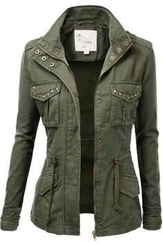 Adorable green military fall jacket