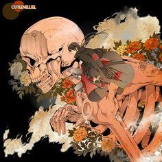 Uchiha Itachi, Akatsuki, Susanoo, skeleton, flowers; Naruto