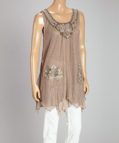 Take a look at the Pretty Angel Brown Floral Accent Linen-Blend Tunic on #zulily today!