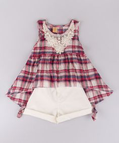 Look what I found on #zulily! Crème & Bleu Red Plaid Hi-Low Top & Shorts - Toddler & Girls #zulilyfinds