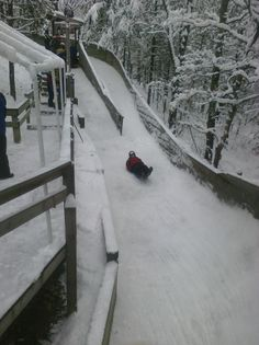 Trying the luge at Muskegon Winter Sports Complex in Muskegon, Michigan