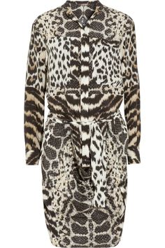 Roberto Cavalli | Printed silk crepe de chine shirt dress | NET-A-PORTER.COM