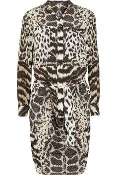 Roberto Cavalli Printed silk crepe de chine shirt dress NET-A-PORTER.COM