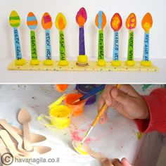 Hanukkah - hanukkiah or menorah craft with wooden spoons