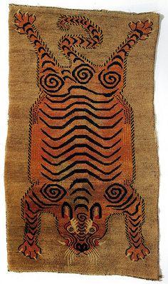 19th-century Tibetan tiger rug __ via flickr of giovanni garcia-fenech
