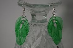 Green earrings from recycled plastic soda PET by DIYorbuyHungary