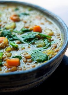 Instant Pot Vegan Golden Lentil & Spinach Soup recipe - Lentils, turmeric, and spinach team up in this flavor-packed soup that cooks up super easy - right in the pressure cooker.