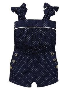 NWT BABY GAP Cannes Sailor Polka Dot Button Bow Tank One Piece Romper 12-18-24