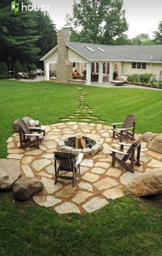 Stepping stones out to the fire pit in the far corner so the smoke doesn't come inside
