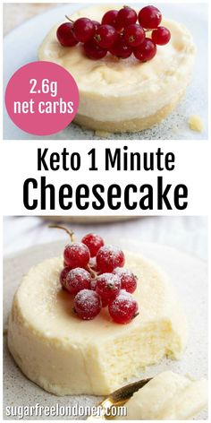 This creamy keto microwave cheesecake cooks in less than 90 seconds! It's perfect if you want a quick and easy sugar free dessert. It is crustless and has only 2 net carbs per portion. Serves 2. I've given plenty of topping ideas and recipe variations for this mug cheesecake in the post. Enjoy! #ketomugcake #ketocheesecake Desserts Keto, Desserts Sains, Sugar Free Desserts, Easy Desserts, Dessert Recipes, Mug Cheesecake, Cheesecake Recipes, Creamy Cheesecake Recipe, Sugar Free Cheesecake