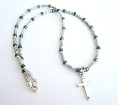 Mens cross necklace mens stone beaded necklace by Bravemenjewelry