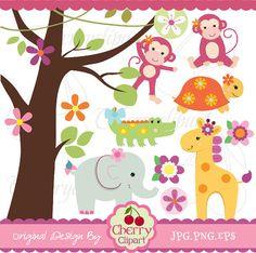 Cute Girl Safari Animals Digital Clipart Set for por Cherryclipart