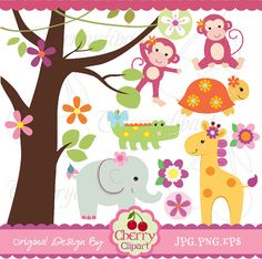 Cute Girl Safari Animals Digital Clipart Set for -Personal and Commercial Use-paper crafts,card making,scrapbooking,web design