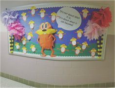 Lorax Bulletin Board  For unit on change that also fell around the time of Dr. Seuss' birthday. I love two for one learning experiences. Students wrote how they could make a change in their community after reading the Lorax together. Fun engaging lesson and wonderful fun display.