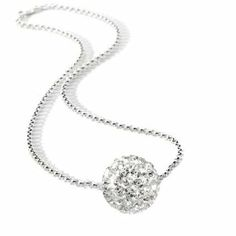 Cz Diamond Color Bead Ball Cubic zirconia Necklace Pendant. Includes Silver Clad Chain 18 Inch 2mm Rolo Chain