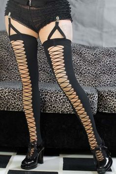 eeda0380a6b Seamless Opaque Faux Lace-Up Thigh High with Attached Garter Clip