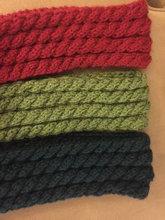 This is a fabulous scarf is already made in an earth green, red, and navy blue. It is very thick and warm making it good for fashion or for wearing