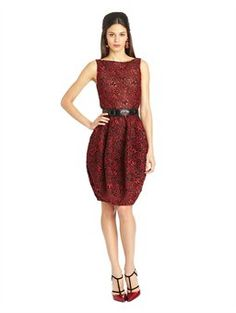 Guipure Lace Bubble Cocktail Dress, $5,390.00 Oscar de la Renta Update your cocktail style with this guipure lace cocktail dress with bubble-hem skirt. The classic French fabric feels fresh and edgy in statement-making cardinal. Take a cue from the runway and pair with the coordinating jacket and monochromatic accessories